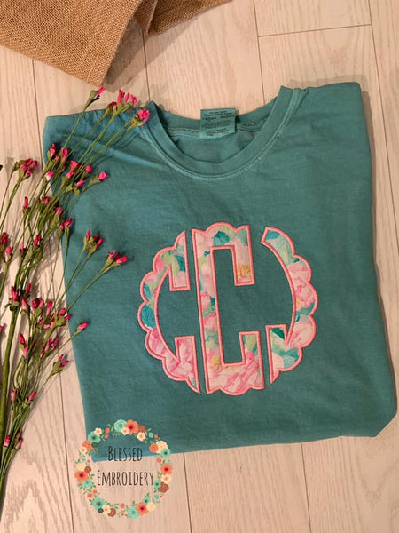 Monogrammed Comfort Color Shirt, Monogrammed Applique Comfort color shirt, monogrammed shirt