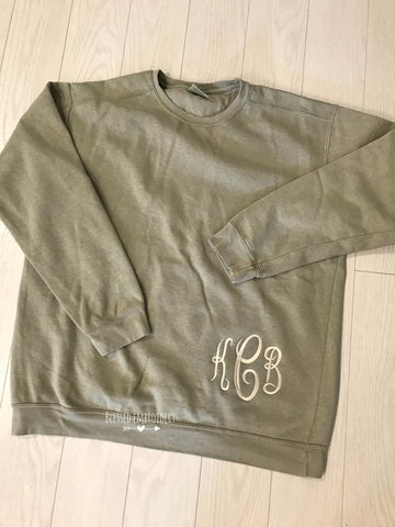 Monogrammed Comfort Color Shirt, Monogrammed Applique Comfort color shirt, monogrammed sweatshirt