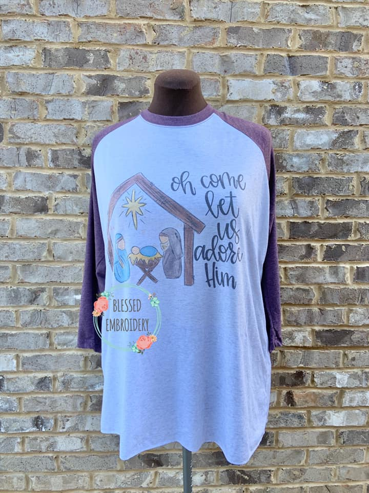 Oh come let us adore him raglan, Oh come let us adore Shirt
