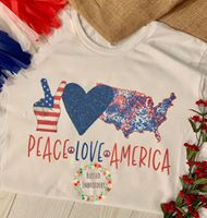 Peace Love America Tee, Patriotic Sublimated Tee, Peace Love America Sublimated T-Shirt