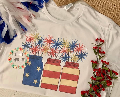 Sparkler Patriotic Tee, Patriotic Sublimated Tee, Sparkler Patriotic Sublimated T-Shirt