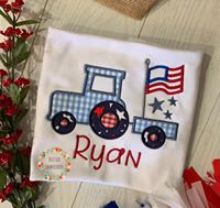 Boys Patriotic Shirt, Boys Patriotic Applique Shirt, Boys Monogrammed Tractor Patriotic Shirt