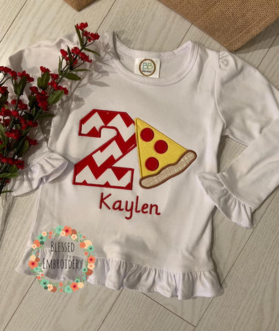 Pizza birthday Shirt, Pizza Applique Birthday Shirt