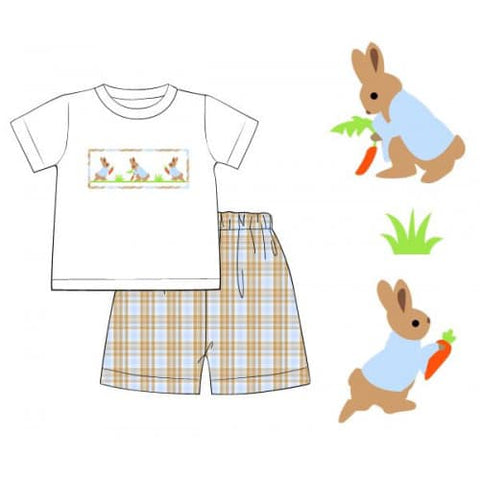 Plaid Boy Smocked Short Set