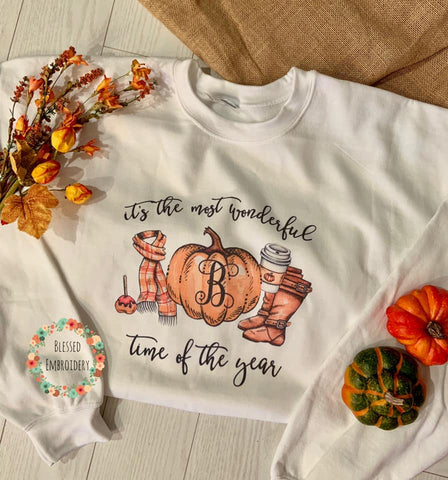 Pumpkin Spice Monogrammed Sweatshirt, The Most Wonderful Time Of The Year Sweatshirt