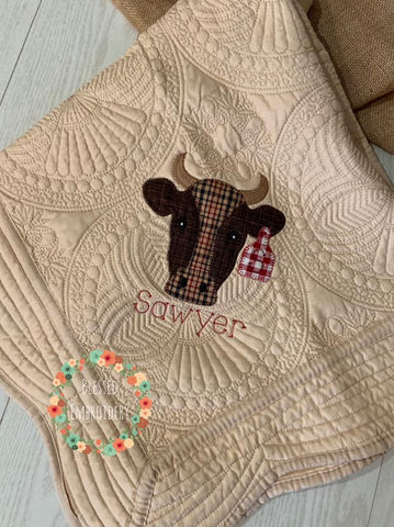 Bull Heirloom Quilt, Boys Monogrammed Heirloom Quilt