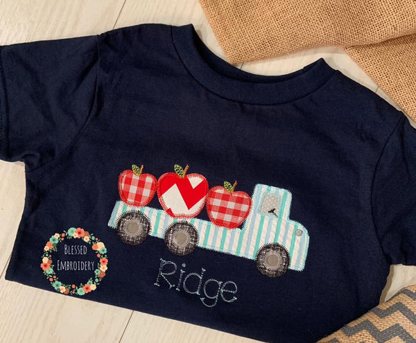 Boys Back To School Shirt, Back To School Truck Applique Shirt, Back To School Personalized Shirt