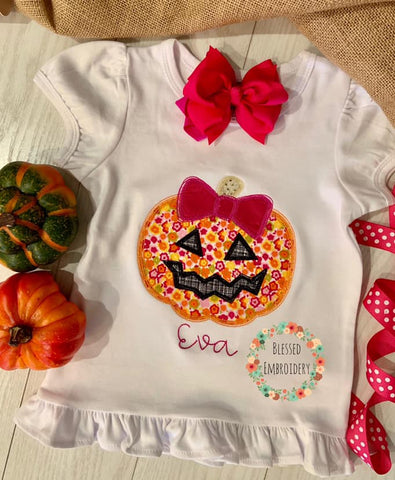Girls Pumpkin shirt, Girls Monogrammed Pumpkin Applique Shirt, Girls Jack o Lantern Shirt
