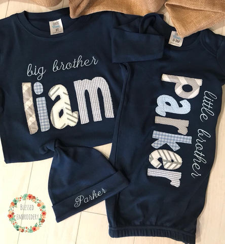 Copy of Big Brother Little brother outfits, Big Brother Shirt, Little Brother Gown, Brother Applique Outfits, little brother monogrammed gown, Brother Monogrammed outfits