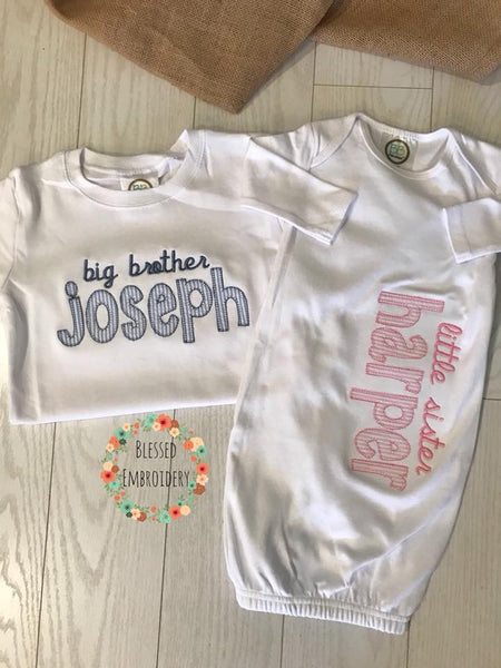 Big Brother Little Sister Outfits, Big Brother Shirt, Little Sister Gown, Sibling Hopsital Outfits