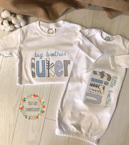 Big Brother Little brother outfits, Big Brother Shirt, Little Brother Gown, Brother Applique Outfits, little brother monogrammed gown, Brother Monogrammed outfits