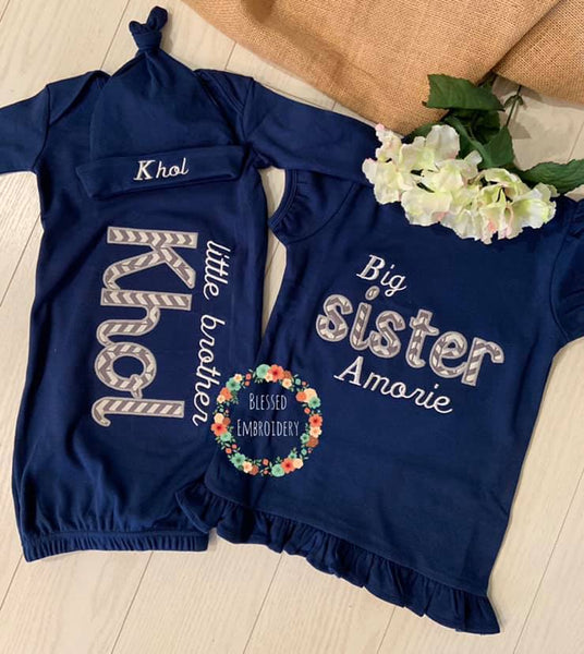 Big Sister Little Brother Applique Outfit Set, Little Brother Gown, Big Sister And Little Brother Outfit Set