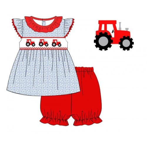 Smocked Tractor Short Set