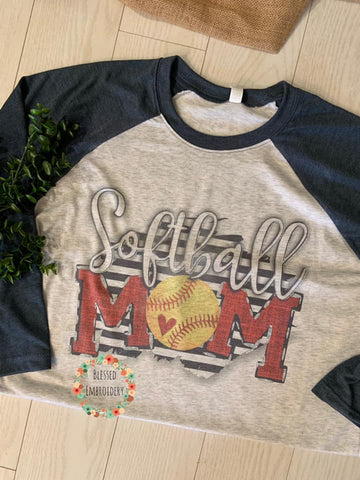 Softball Mom Raglan, Softball Mom Shirt, Softball Mom Sublimated Raglan