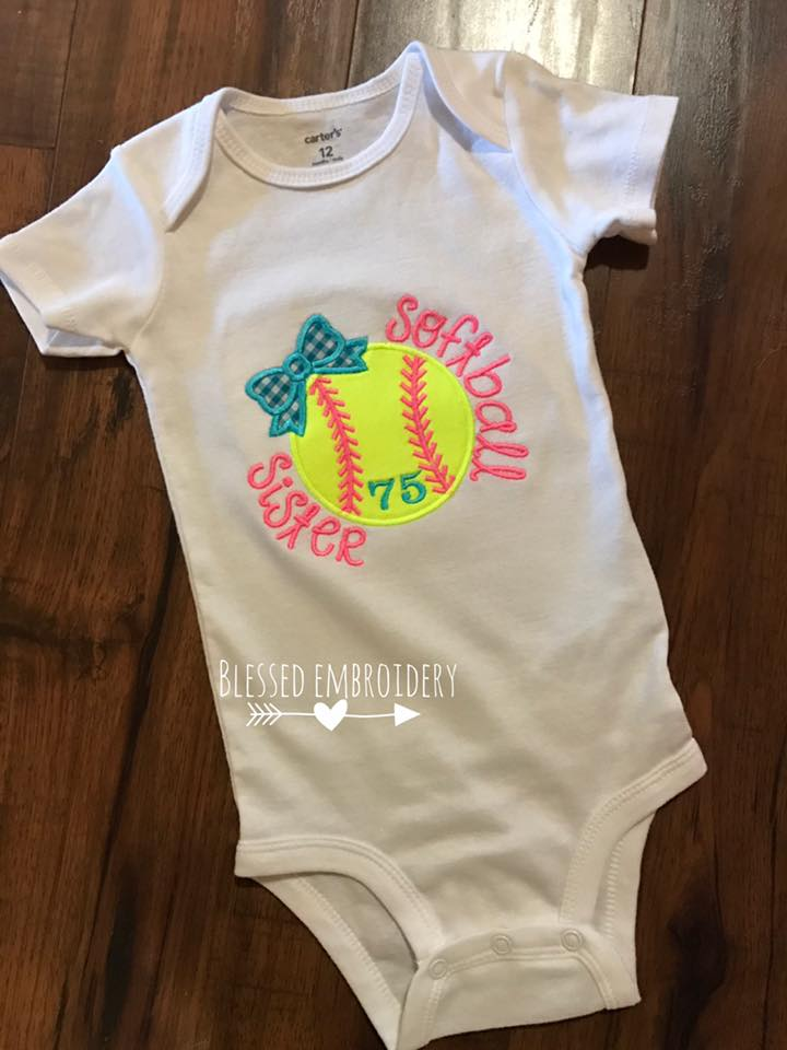 Softball sister shirt, softball sister onesie, softball sister applique