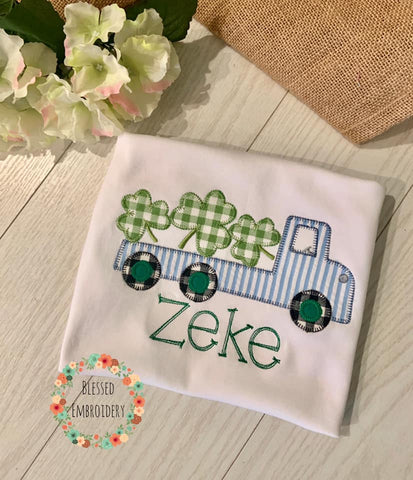 Boys St patricks Day shirt, Boys Monogrammed St patricks day shirt, Truck St patricks day shirt