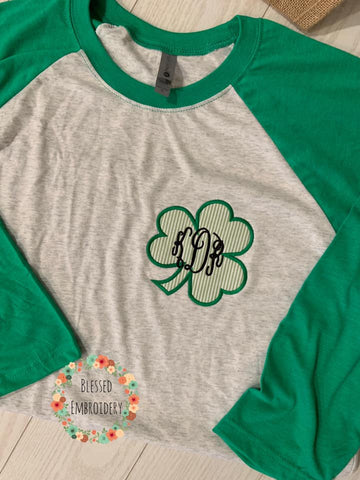 Monogrammed St. Patricks day raglan, St. Patricks Day Shirt, Monogrammed St. Patricks Day Shirt