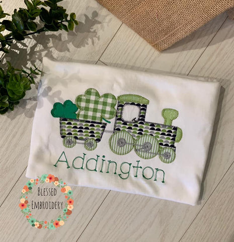 Train St. Patricks Day Shirt, Train St. Patricks day monogrammed shirt, st. patricks day personalized shirt