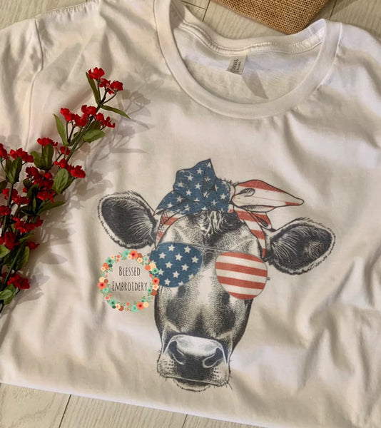 Patriotic Sublimated Tee, Cow Patriotic Tee, Patriotic Cow T-Shirt