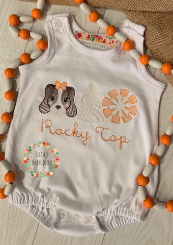 Girls Tennessee bubble, rocky top girls outfit, monogrammed girls Tennessee football outfit