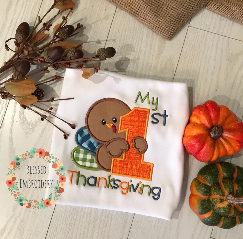 First Thanksgiving Applique, First Thanksgiving Applique Shirt
