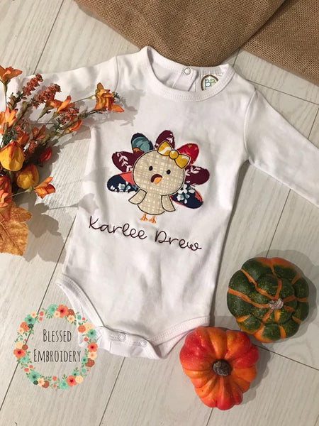 Girls Fall Shirt, Girls monogrammed turkey shirt