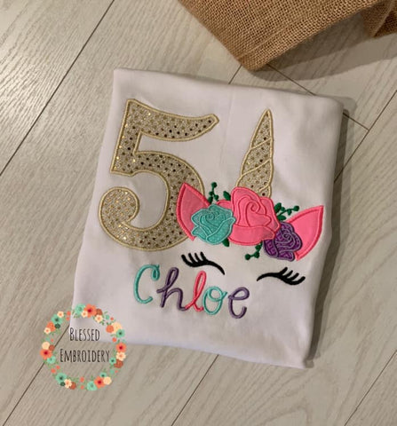 Unicorn Birthday shirt, Girls Unicorn Birthday Shirt, Monogrammed Unicorn Birthday shirt