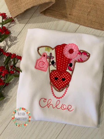 Girls Valentines Day Shirt, Cow Valentines Day Shirt, Girls Monogrammed Valentine's Day Shirt