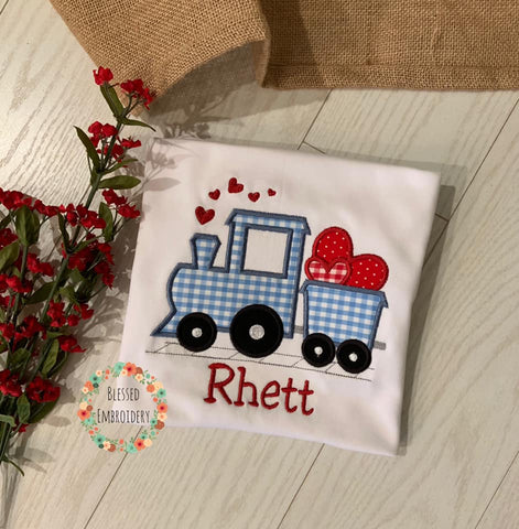 Boys Valentine's Day shirt, Monogrammed Valentines Day Shirt, Train Valentines Day Shirt