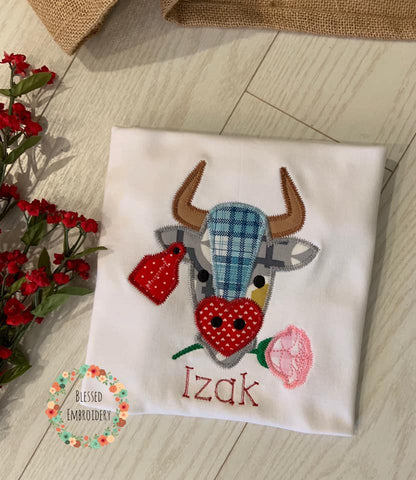 Boys Valentine's Day shirt, Bull Valentines Day Shirt, Boys bull monogrammed valentines day shirt