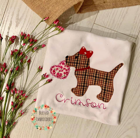 Girls Valentines Day Shirt, Dog Valentines Day Shirt, Girls Monogrammed Valentine's Day Shirt