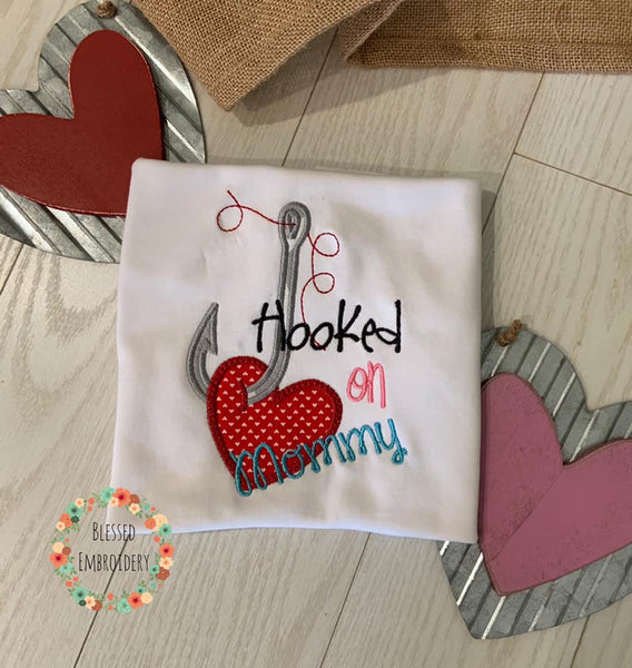 Valentines day Shirt, Hooked On Mommy Shirt, Monogrammed Valentine's Day Shirt