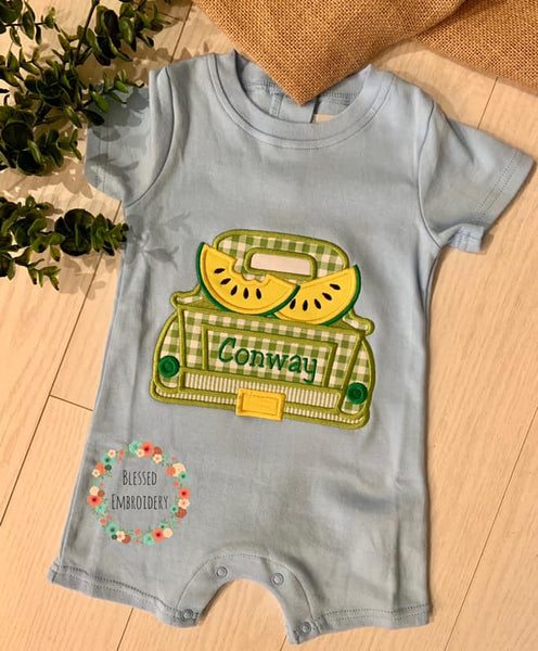 Boys Watermelon Applique Outfit, Boys Monogrammed Watermelon Truck Outfit