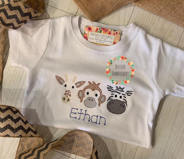 Girls Zoo Shirt, Girls Zoo Applique Shirt, Monogrammed Zoo Applique Shirt