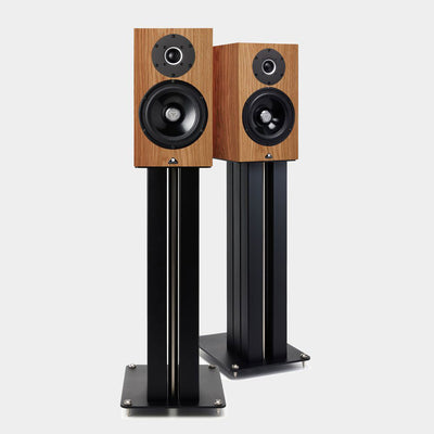 Kudos Cardea Super 10A Standmount loudspeakers in natural oak on black stands | Holburn Online