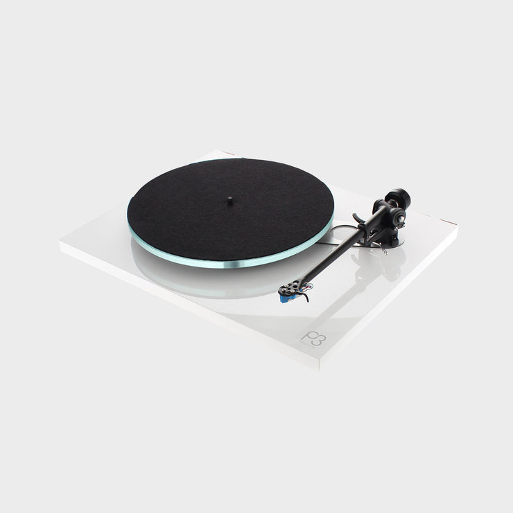 A beautiful white turntable called the Rega Planar 3