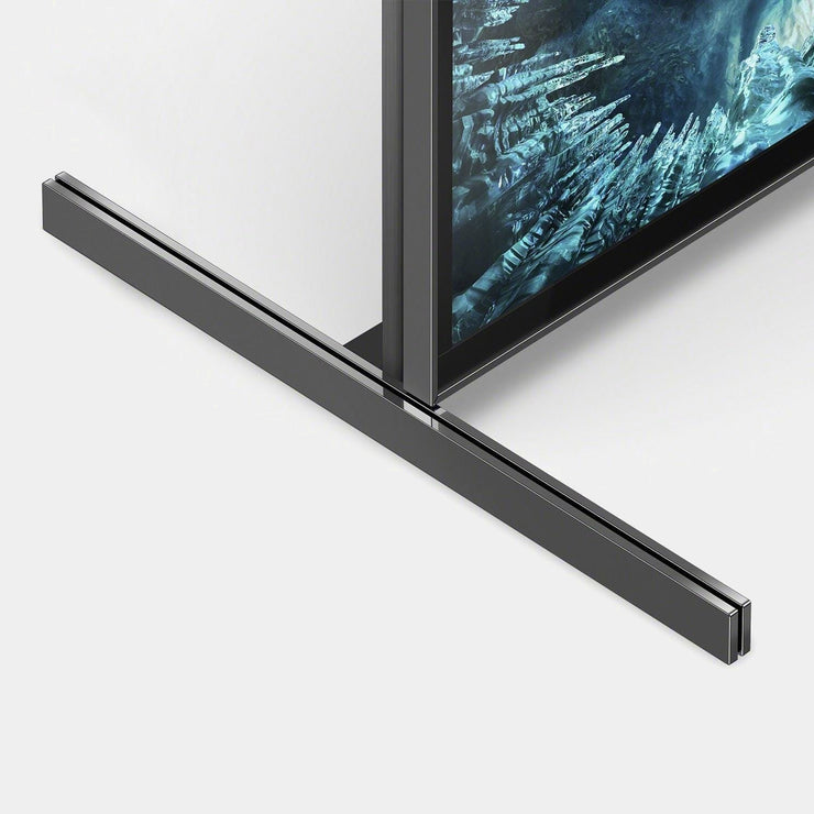 a slick metal stand allows the sony zh8 a minimal presence in the room