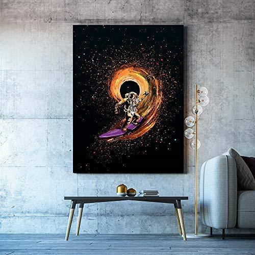 Cosmic Surfer Canvas Art - It's Okay To Be Weird