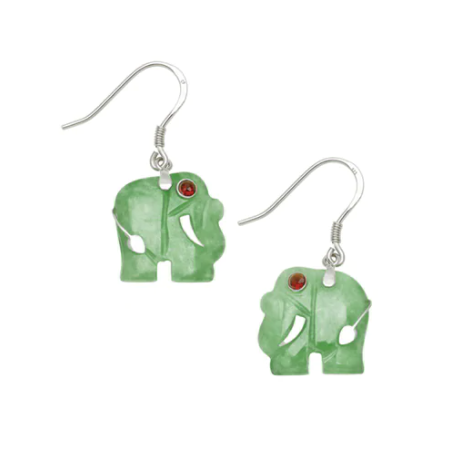 Jade Elephant Sterling Silver Earrings