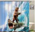 Bear On A Shark Shower Curtain