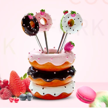 Donut Cocktail Forks & Holder Set - It's Okay To Be Weird