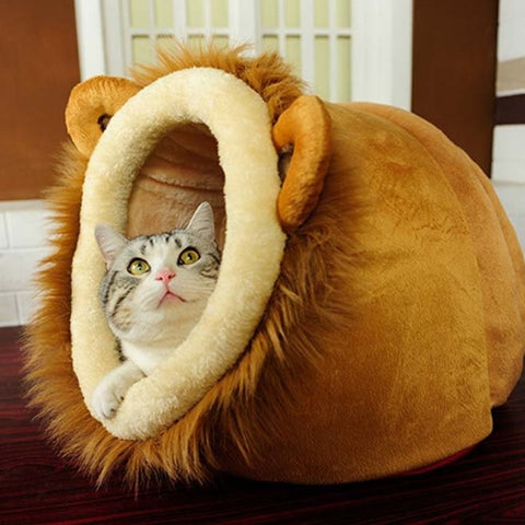 Lion Shaped Plush Cat Bed