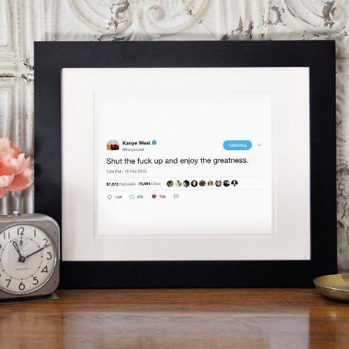 Kanye West Framed Tweet - It's Okay To Be Weird