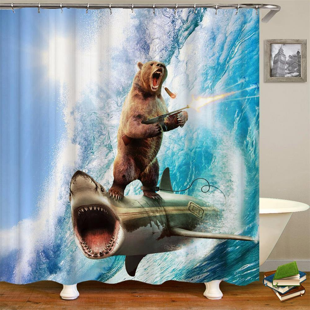 Bear On A Shark Shower Curtain - It's Okay To Be Weird