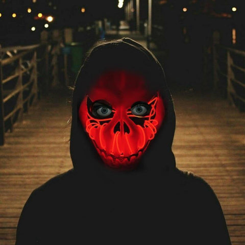 LED Light Up Pumpkin Skull Mask - It's Okay To Be Weird