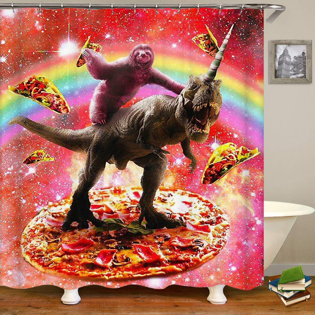 Sloth Rides Dinosaur Shower Curtain - It's Okay To Be Weird