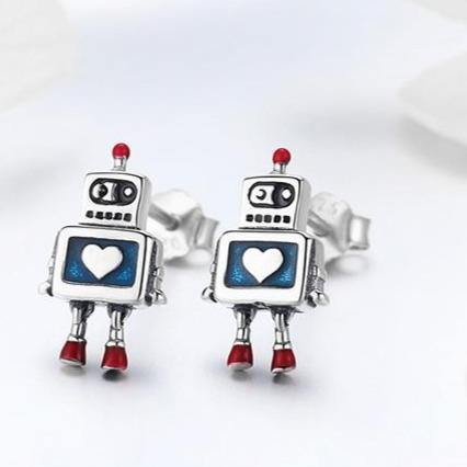 Robot Heart Stud Earrings - It's Okay To Be Weird
