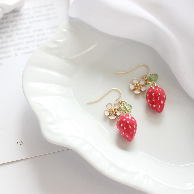 Strawberry Enamel Earrings - It's Okay To Be Weird