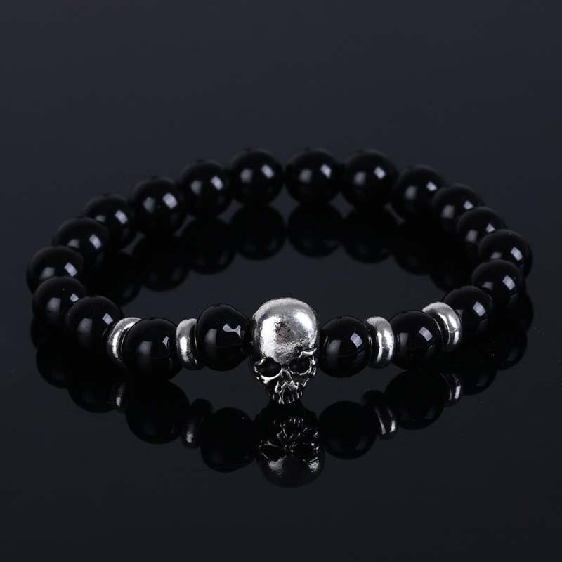 Skull Black Lava Stone Beaded Bracelet