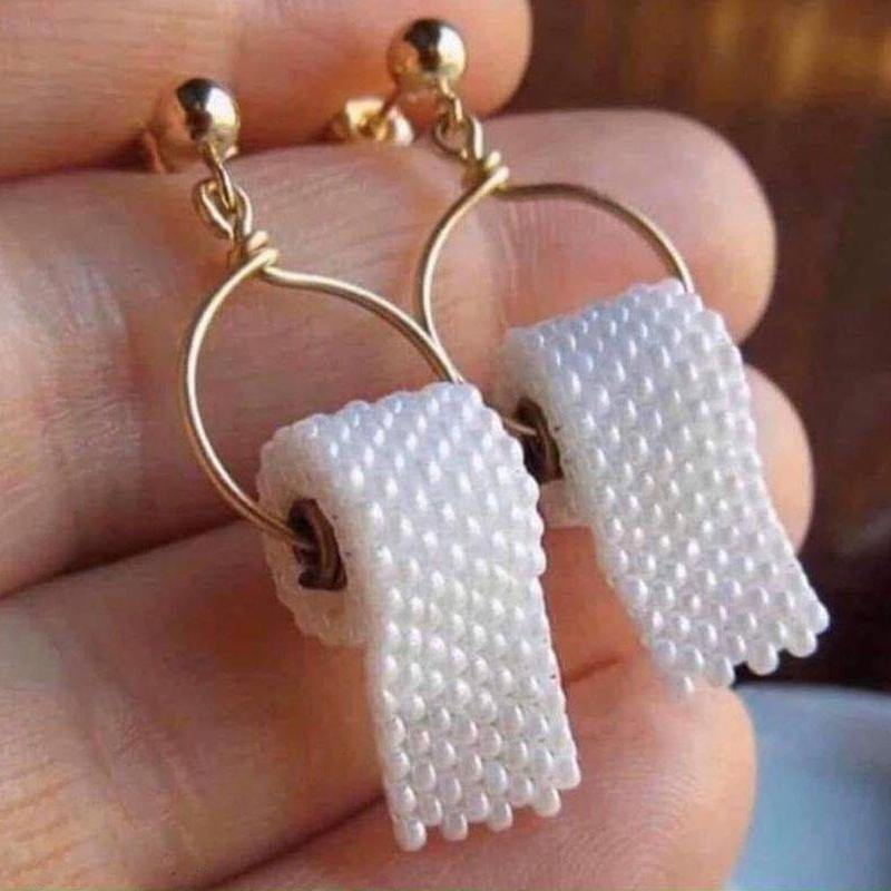 Toilet Paper Drop Earrings - It's Okay To Be Weird